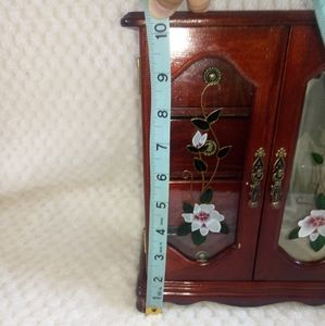 Storage & Organization - Jewelry box wood with flower glass design